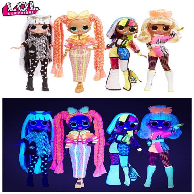Lol-Muñeca sorpresa original de 100%, disfraz de chica con luces omg, conjunto de muñecas de pelo largo de neón, caja de regalo