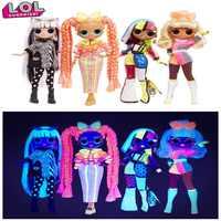 Lol-Muñeca sorpresa original de 100%, conjunto de muñecas de pelo largo de neón, con luces omg, caja de regalo para niña, juguete para regalo de Navidad