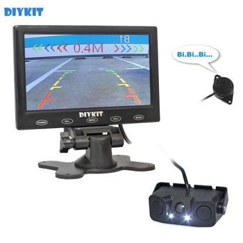 "DIYKIT Video Parking Radar 7"" Touch Button Ultra-thin Car Monitor + LED Rear View Car Camera Sensor Assistance System Kit"