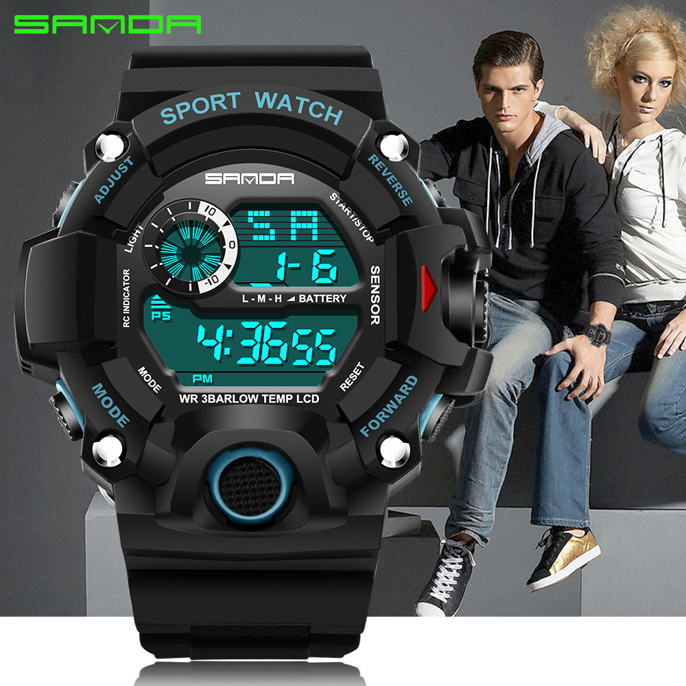 2019 SANDA спортивные мужские часы 3ATM водонепроницаемые цифровые часы с обратным отсчетом мужские часы с хронографом Relogio Masculino