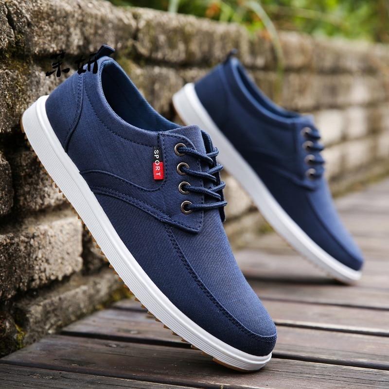 Men Casual Shoes 2020 Summer Canvas Shoes Men Breathable Casual Canvas Men Shoes Walking Men Shoes Chaussure Homme Factory Sales