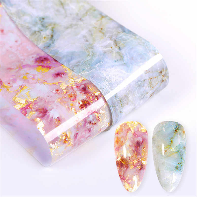 1 Box Nail Foils Marble Printed Pink Blue Foils Paper Nail Art Transfer Sticker Slide Nail Art Decals Nails Accessories 100x4cm