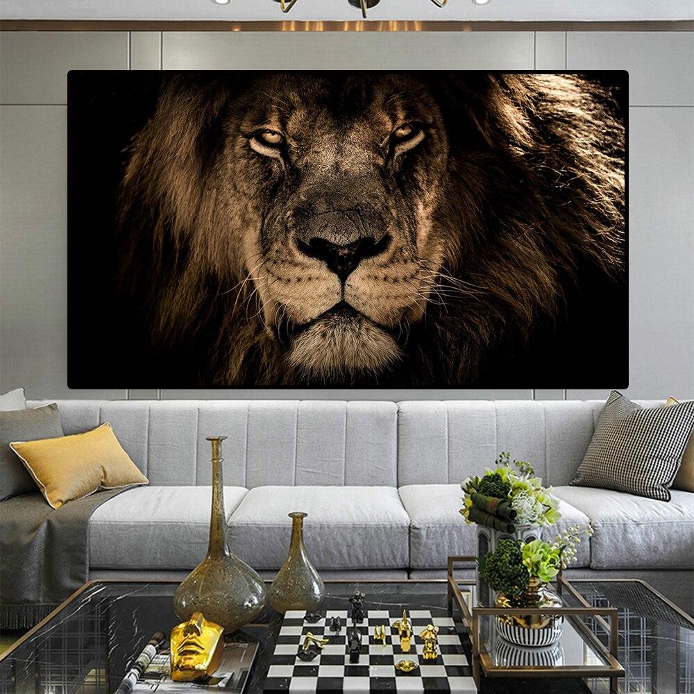 Tela africana de grandes leões pintura facial na parede, arte posters e impressões, imagens de animais para sala de estar quadros