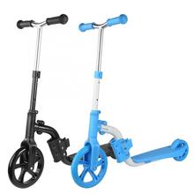 2 in 1 Baby Kids Scooter Portable 2 Wheel Ride-On Kick Scooter Adjustable Height T Handle for Kids Age 3-12 Years Old