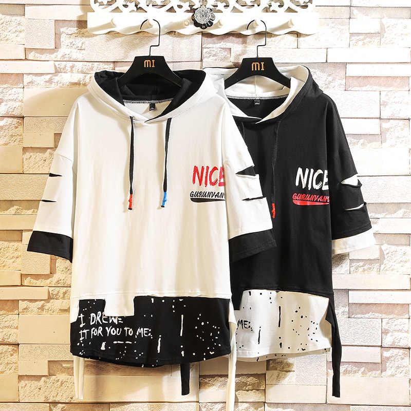 여름 2020 짧은 흰색 검은 까마귀 스웨터 망 힙합 펑크 풀오버 Streetwear 캐주얼 패션 의류
