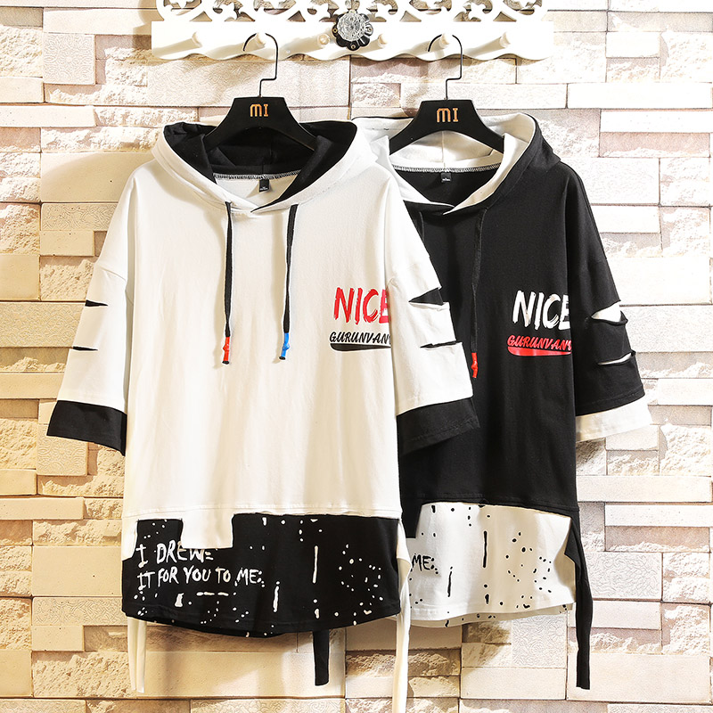 Summer 2020 Short White Black Hoodie Sweatshirt Mens Hip Hop Punk Pullover Streetwear Casual Fashion Clothes