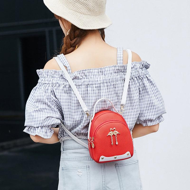 Mini Cute Backpack For Girl 2019 New Women Fashion Three-use Swan Hanging Casual Small Bag Female Kawaii Shoulder Bag