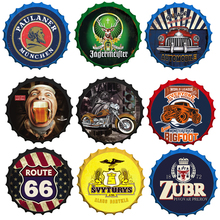 Beer Cap Signs Wine Beer Motor Painting Decor Bar Pub Garage Wall Decoration Vintage Round Metal Tin Sign Plate Crafts Plaques