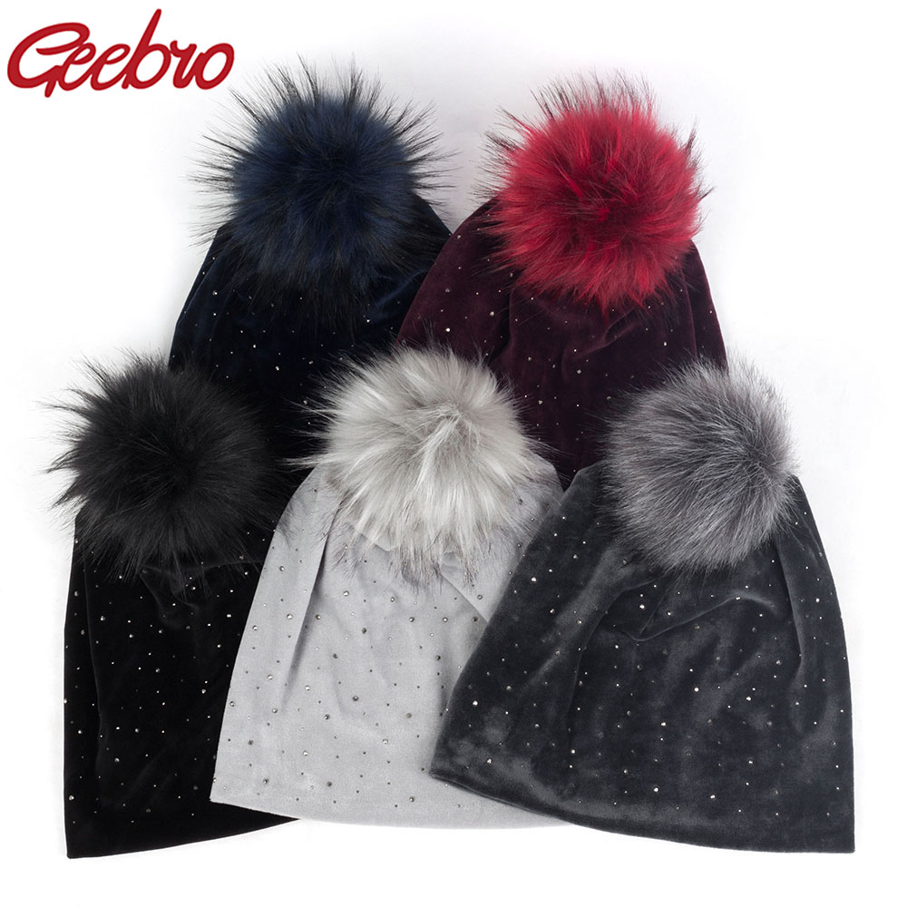Geebro Winter Women's Pom Pom Rhinestones Beanie Hat And Neck Scarves Casual Velvet Beanies Hat With Faux Fur PomPom Caps