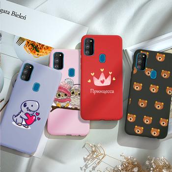 Etui na telefon do Samsung Galaxy M21 okładka miękkiego silikonu TPU powrót Coque do Samsung M21 M215F M 21 zderzak kreskówka dinozaur tanie i dobre opinie OMPT CN (pochodzenie) Częściowo przysłonięte etui Cute Cartoon Candy Color Soft Silicone Phone Case Cover W stylu rysunkowym