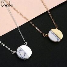 Chandler złoty kolor oprawiony biały marmur koło naszyjnik dysk okrągły osobowość prezent dla druhny prosty nowoczesny Colier