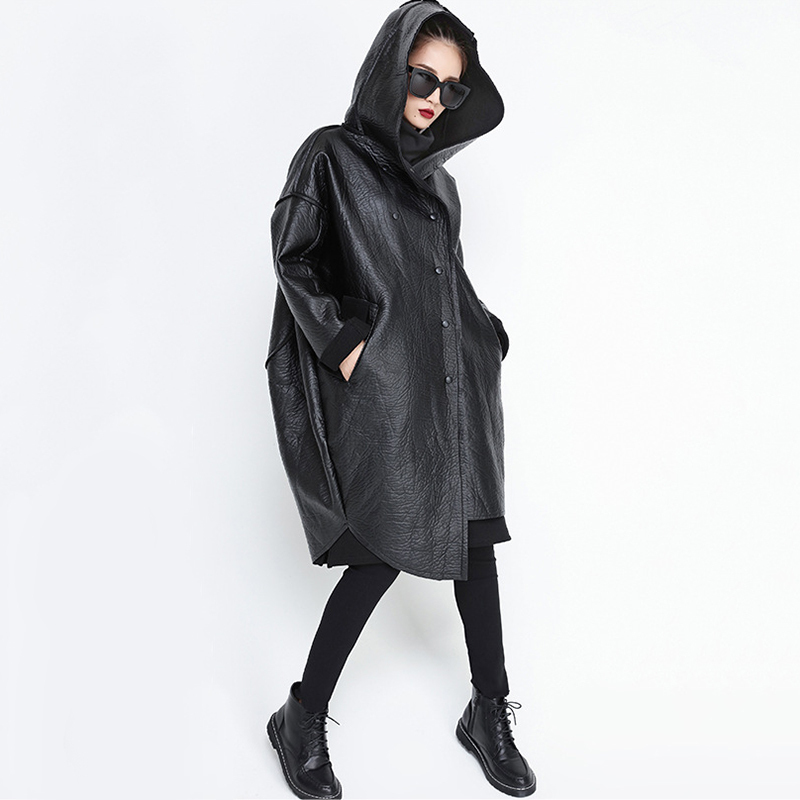 [EAM] Loose Fit Hooded Black Pu Leather Thick Oversize Jacket New Long Sleeve Women Coat Fashion Tide Autumn Winter 19 JG637 7