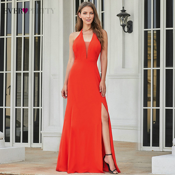 Sexy Evening Dresses Long Ever Pretty EP07247OR A-Line V-Neck Sleeveless Side Split Simple Formal Party Gowns Lange Jurk 2020 - discount item  45% OFF Special Occasion Dresses