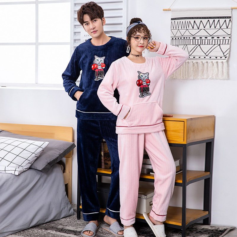 Lovers Nightwear Coral Fleece Pajamas Set Autumn Winter Pyjamas 2PCS Home Clothing Nightgown Sleepwear Kimono Bathrobe Gown