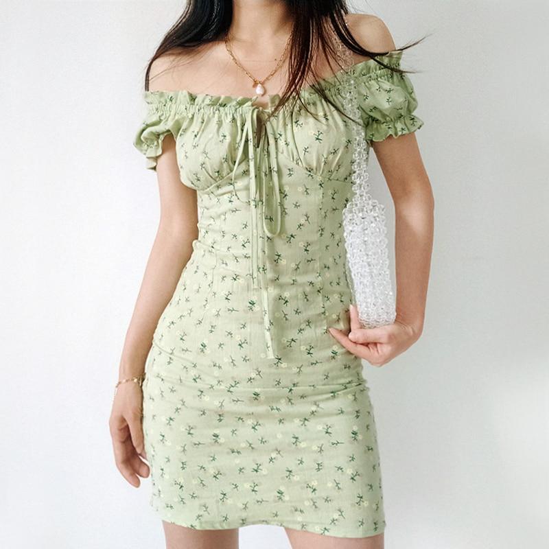Женское мини-платье с цветочным принтом, зеленое хлопковое платье с воротником-лодочкой сзади