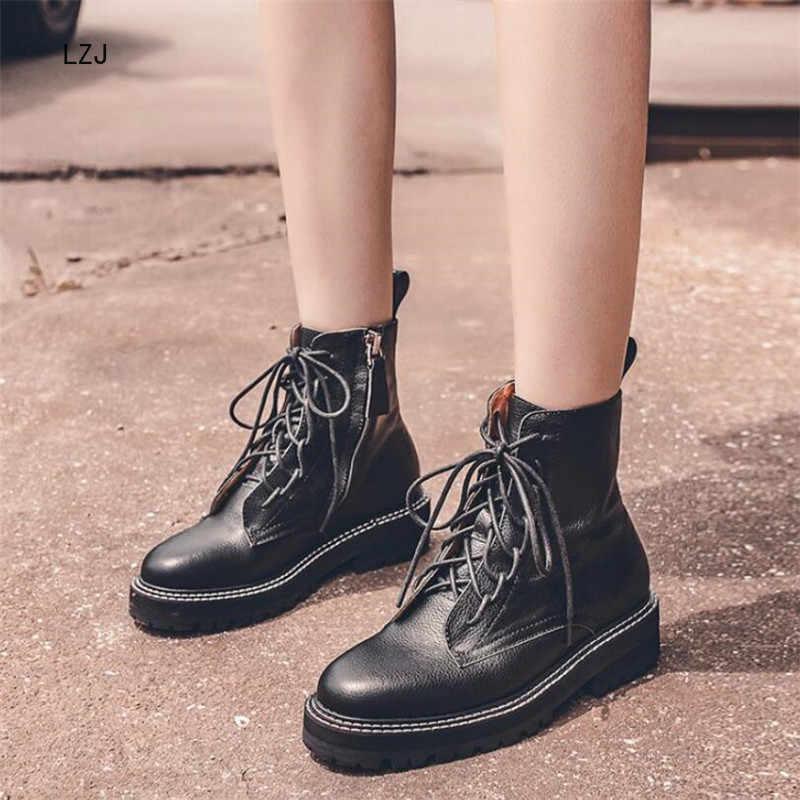 LZJ 2019 kış yarım çizmeler rahat kadın yağmur çizmeleri deri kar Flats topuk platformu kadın yarım çizmeler deri Martin çizmeler