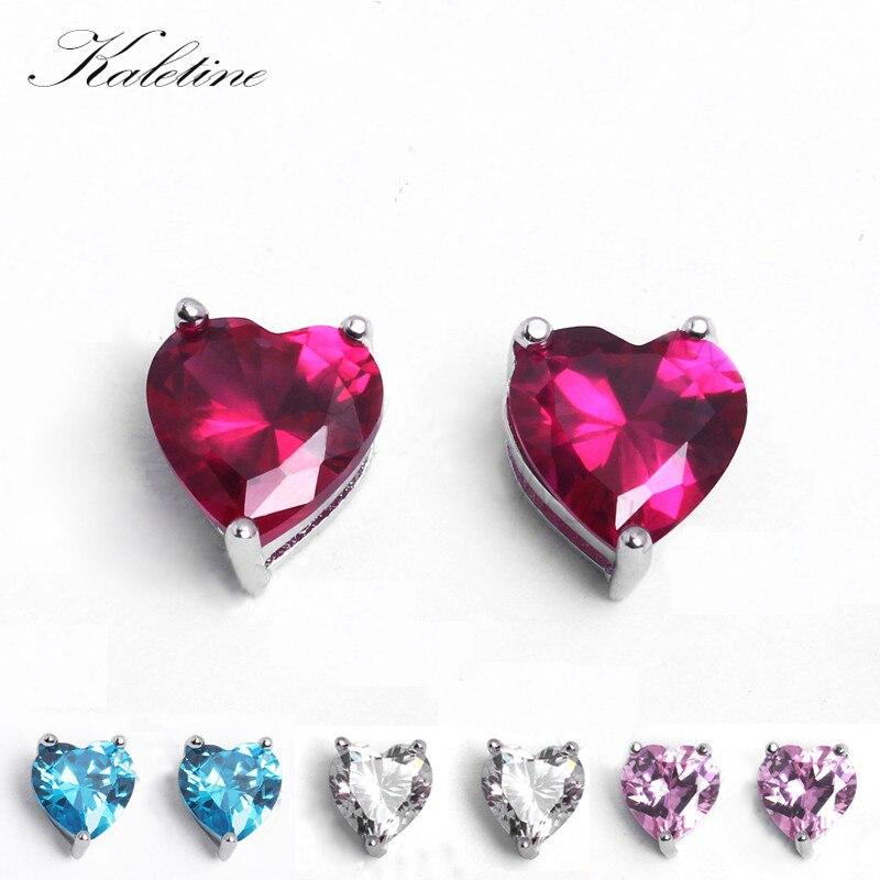 KLTE005 Genuine 925 Sterling Silver Jewellery Garnet Pink See Blue CZ 6mm 7mm 8mm Heart Shaped CZ Crystal Stud Earrings KLTE005