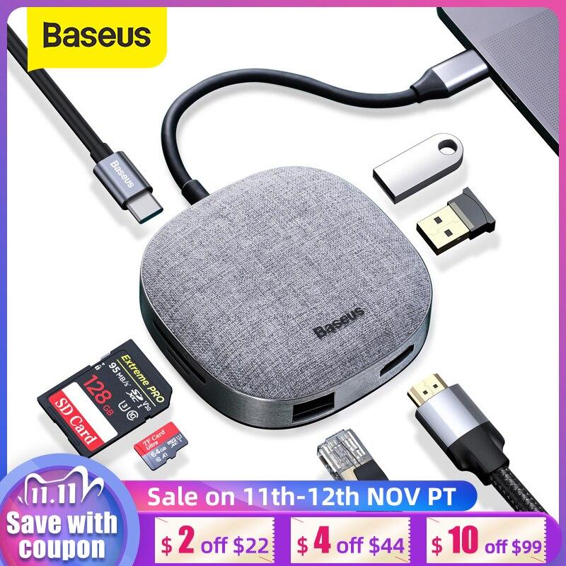 Baseus USB C 허브 유형 C-HDMI RJ45 USB 3.0 USB 허브-MacBook Pro USB C Dock SD 카드 판독기 패브릭 USB 어댑터 유형 C 허브