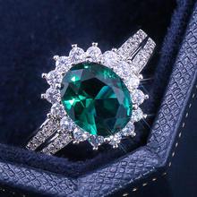 Ustar большой зеленый овал куб цирконий обручальные кольца для