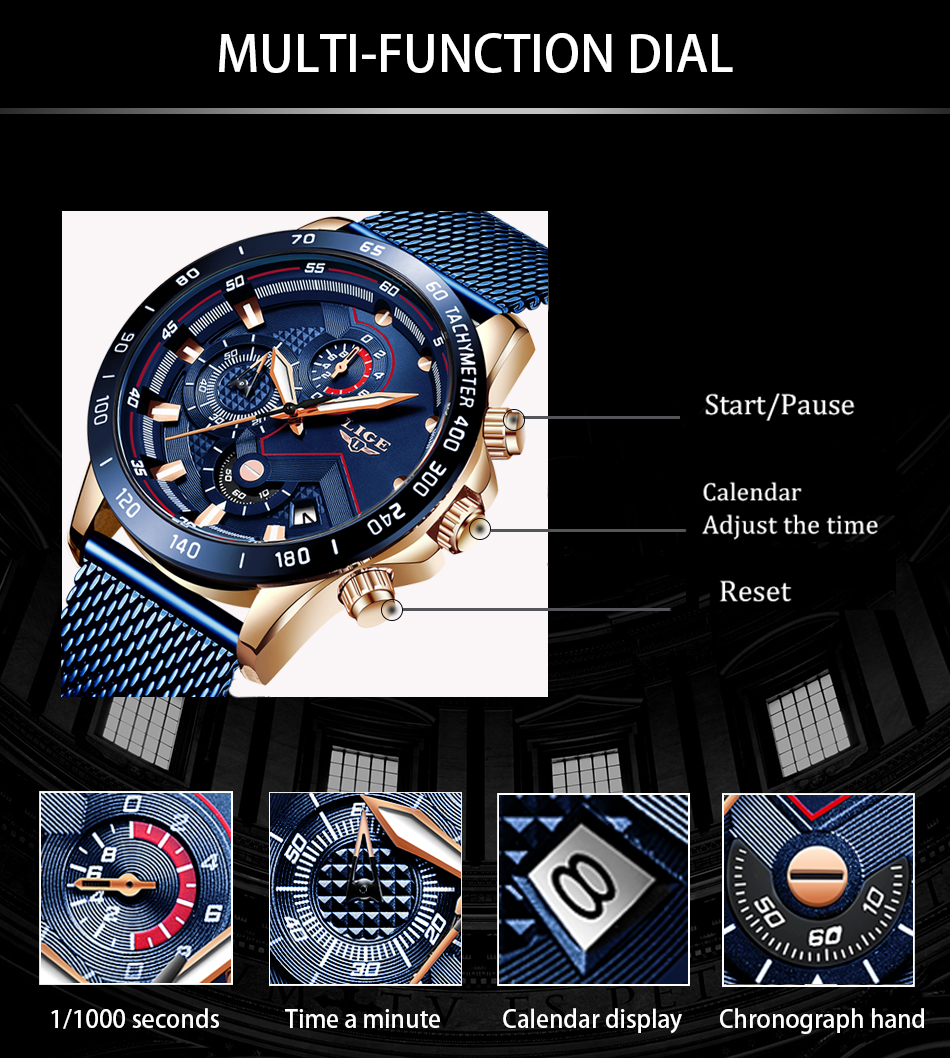 2019 New LIGE Blue Casual Mesh Belt Fashion Quartz Gold Watch Mens Watches Top Brand Luxury Waterproof Clock Relogio Masculino
