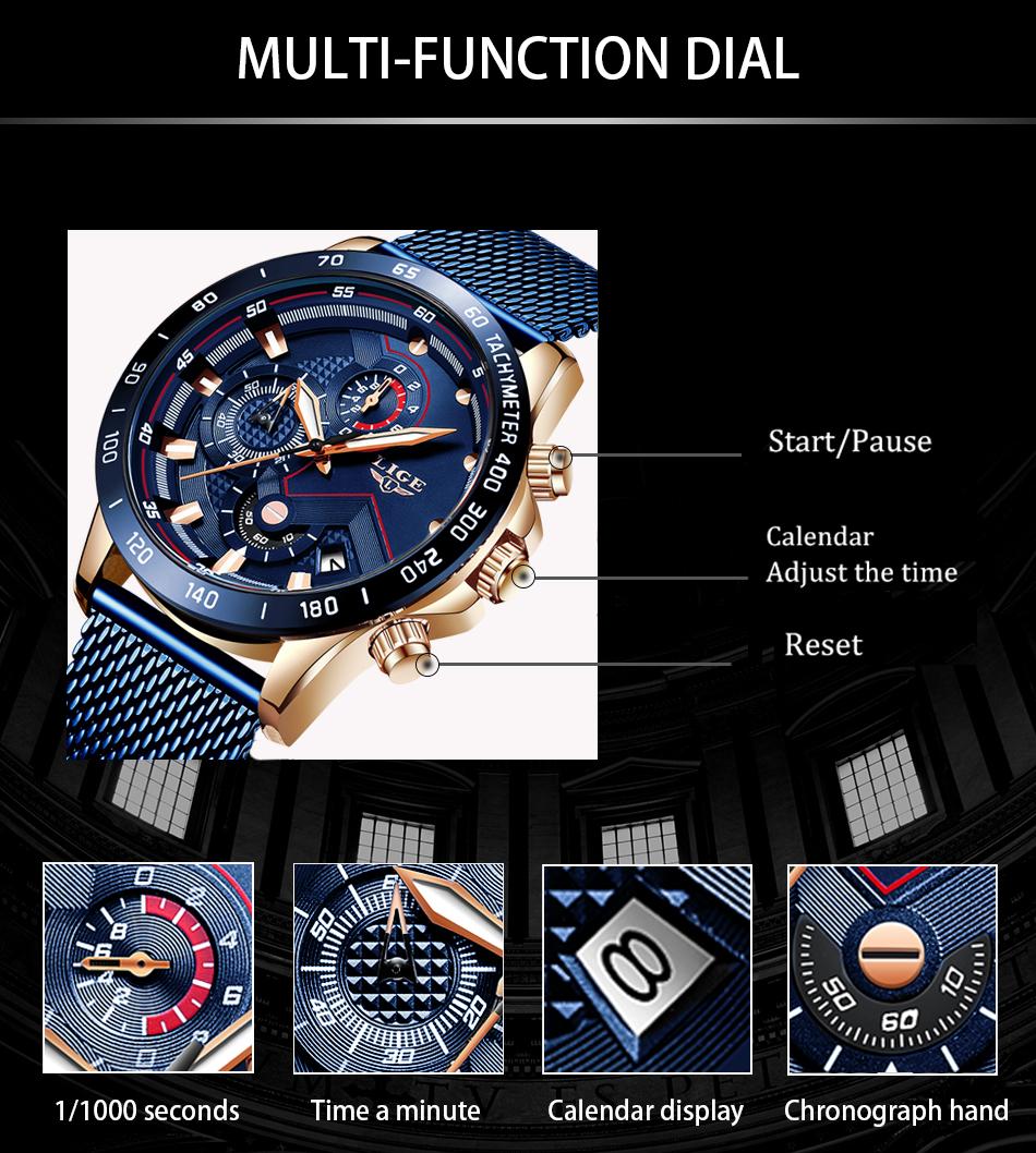 LIGE azul Casual malla Correa moda cuarzo oro reloj para hombre relojes marca superior reloj impermeable de lujo 8