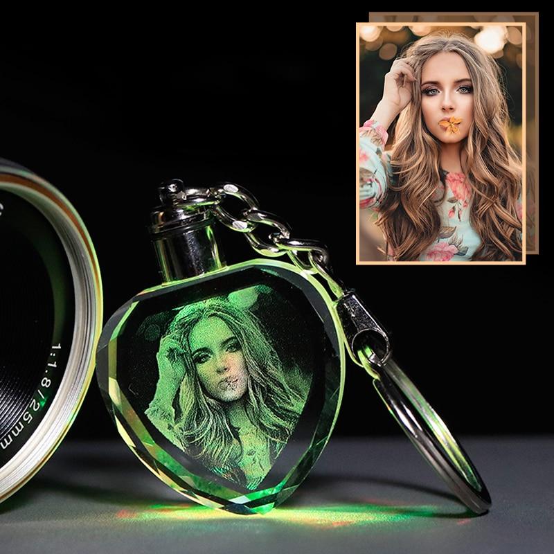 UNTCENT Custom Souvenir Crystal Photo Night Light Keychain Crafts Art Gift