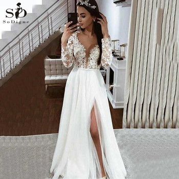 Real Photo Wedding Dress With Long sleeves Sexy Deep V Neck Side Slit Lace Appliques Bridal Dress Wedding Gowns Free Shipping army green side pockets v neck short sleeves camouflage dress