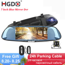 HGDO 7.0 Inch Car Dvr Touch Dash Cam FHD 1080P Video Recorder Rearview Mirror DVRs With Rear View Camera Auto Registrator цена