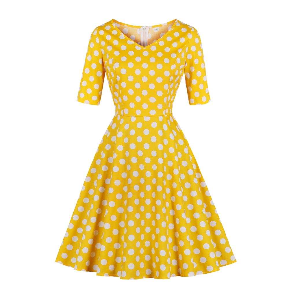 Grande taille femme robe mi-longue grande taille dames doux 2018 automne demi manches jaune à pois vêtements mode col en v balançoire robes