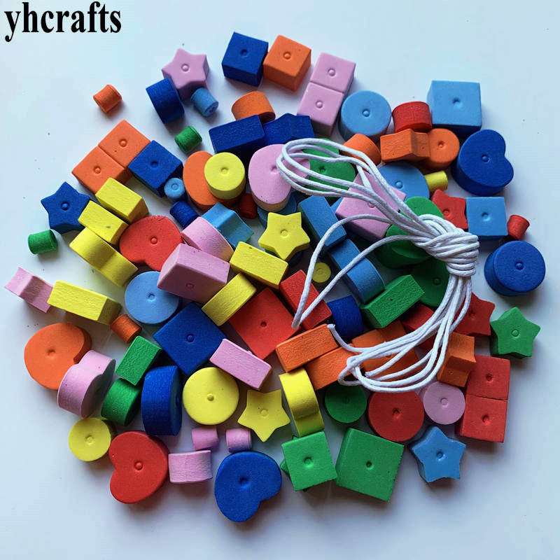 1bag(100PCS)/LOT.Geometric Figure Foam Lacing Beads.Creative Handwork.Early Educational Toys.Crafts Foam Shape With String OEM