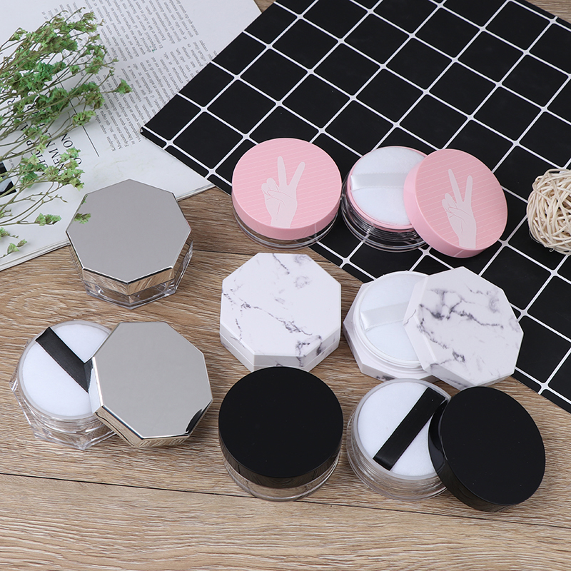 11types Portable Plastic Powder Box Handheld Empty Loose Powder Pot With Sieve Puff Cosmetic Travel Makeup Jar Sifter Container