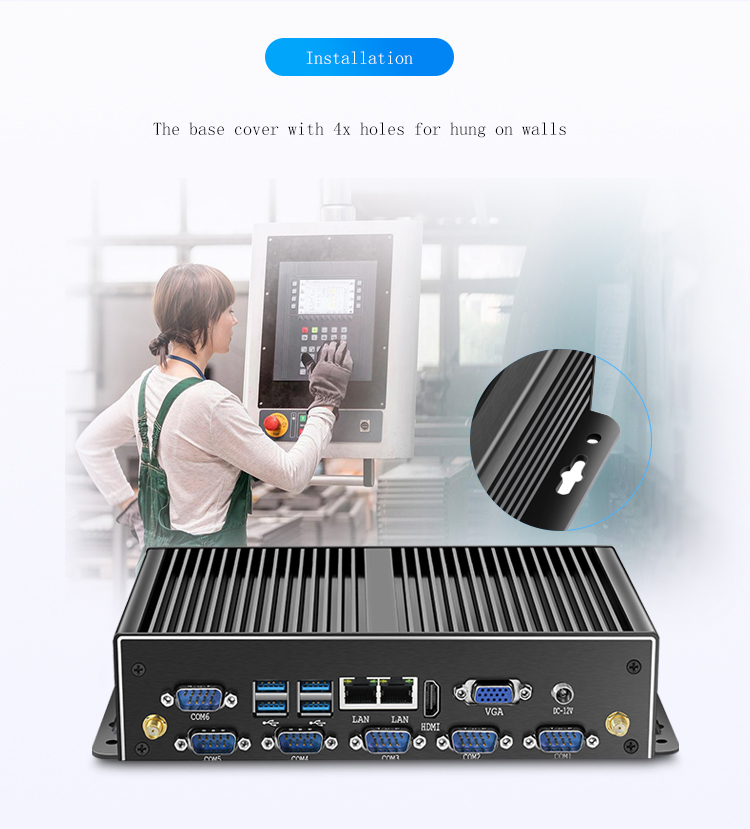 Cheap Fanless Barebone System J1900 I3 I5 I7 Industrial 300M WIFI 2 Ethernet Lan Rs232 12v Mini Pc