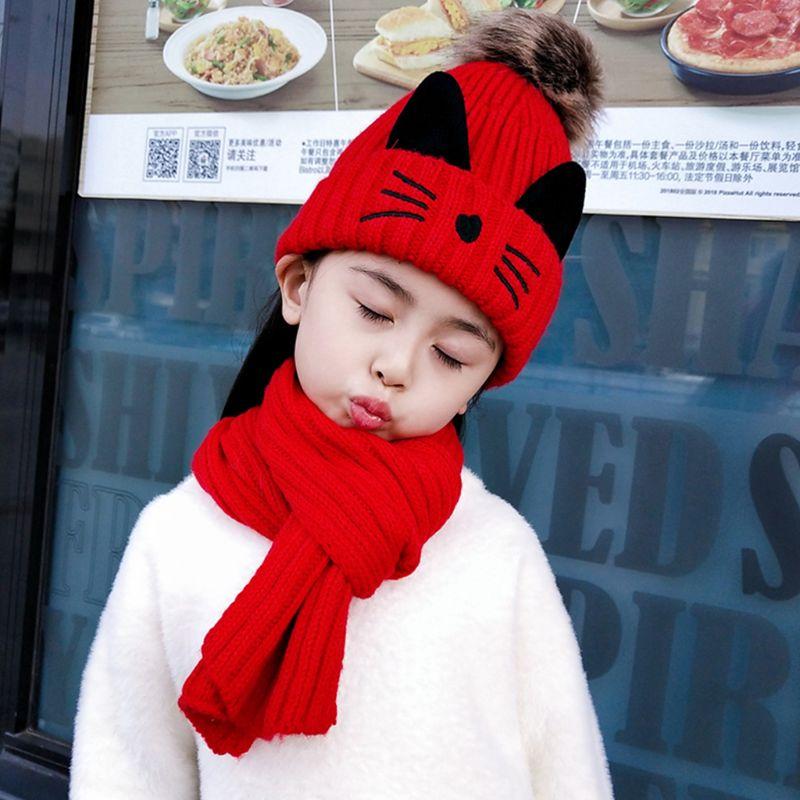 2019 Winter Children Scarf Hat Set Knitted Kitty Pattern Fluffy Pompom Kids Head Cap Shawl