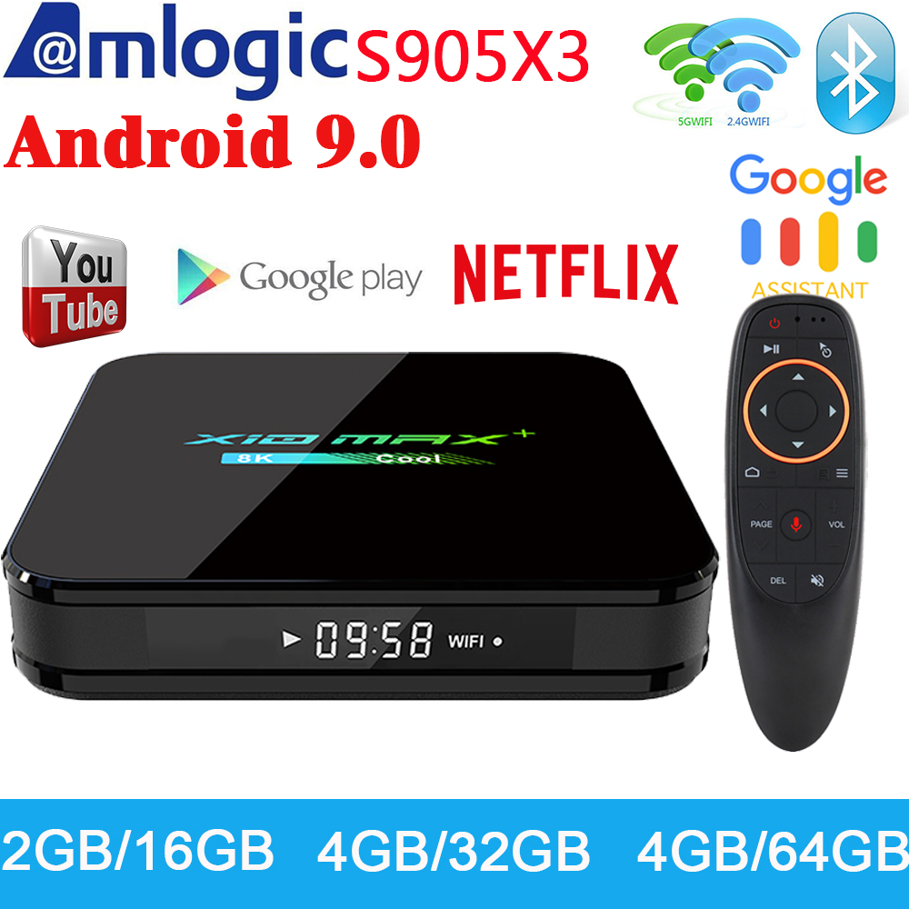 Newest X10 MAX Plus TV Box Android 9.0 4GB 64GB Amlogic S905X3 TV Box Smart Media Player Dual WiFi Bluetooth 8K TV Set Top Box