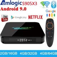 Newest X10 MAX Plus TV Box Android 9.0 4GB 64GB Amlogic S905X3 TV Box Media Player Dual WiFi Bluetooth 8K TV Set top box