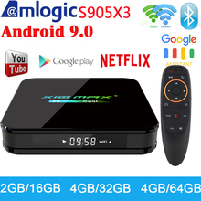 최신 X10 맥스 플러스 TV 박스 안드로이드 9.0 4 기가 바이트 64 기가 바이트 Amlogic S905X3 TV 박스 스마트 미디어 플레이어 듀얼 와이파이 블루투스 8K TV 셋톱 박스