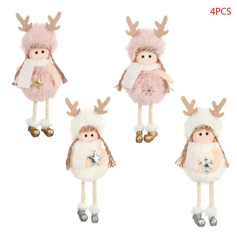 4pcs/set Christmas Angel Plush Doll Toys Xmas Tree Pendants Ornaments Creative Home Decoration