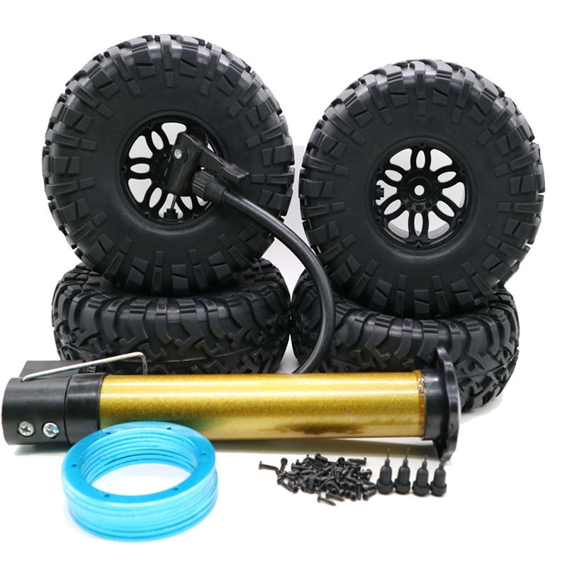 4PCS <font><b>RC</b></font> Car Inflatable <font><b>Tires</b></font> <font><b>2.2</b></font> Inch Wheel Hub Rims for 1:10 <font><b>RC</b></font> Rock <font><b>Crawler</b></font> Axial SCX10 AX10 D90 TRX-4 RC4WD image