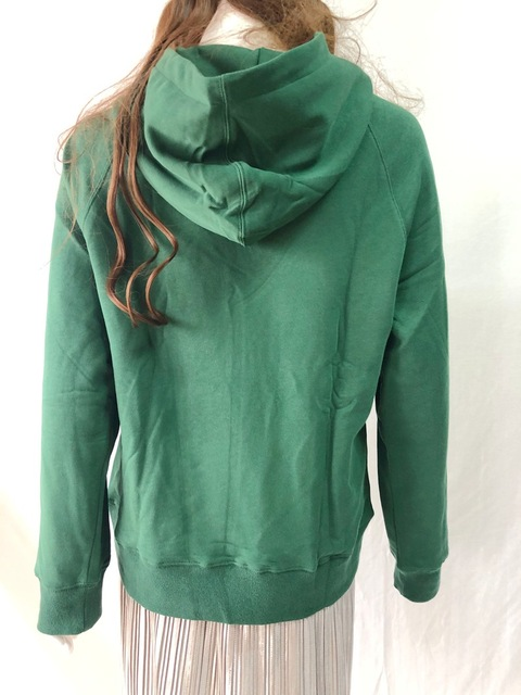 2021 French Chic 100% Cotton Women Pollovers Hoodie Letter Embroidery Green/Black/white O-Neck Loose Long Sleeve Sweatshirt 4