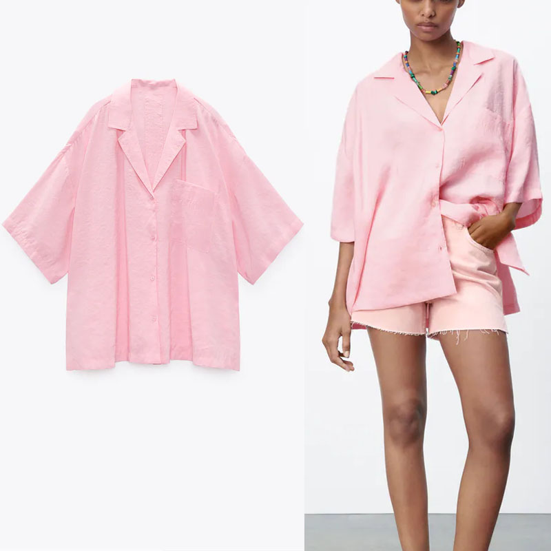 ZA 2021 Oversized Summer Pink White Shirt Women Long Sleeve Vintage Loose Top Fashion Side Vents Button Up Woman Pleat Blouse