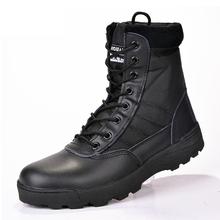 Nowi mężczyźni buty zimowe buty męskie skórzane buty wojskowe buty wojskowe dla mężczyzn buty zimowe pustynne buty wojskowe męskie kostki Botas 45 46 tanie tanio LAKESHI Buty motocyklowe CN (pochodzenie) Krowa Zamszu Połowy łydki Stałe Cotton Fabric RUBBER Futro Okrągły nosek