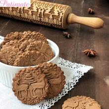 PATIMATE Christmas Wooden Rolling Pin Merry Decorations For Home Kitchen 2019 Navidad Gift New Year 2020