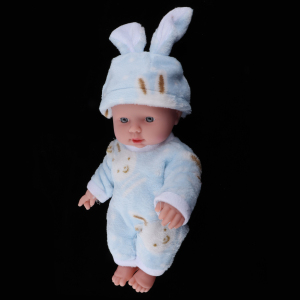 30cm Realistic Reborn Doll Baby Vinyl Newborn with Pink Rabbit Clothing Preemie Blue