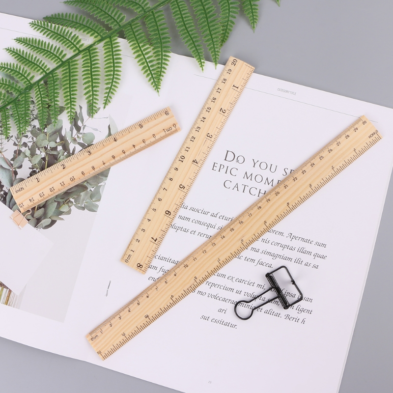 15cm 20cm 30cm Wooden Ruler Double Sided Student School Office Measuring Tool X6HB