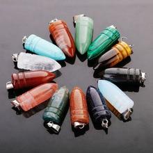 Fubaoying 50 pçs lote bala pedra natural pingente colar brincos frete grátis encantos para fazer jóias