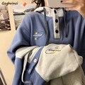Hoodies Frauen Patchwork Große Tasche Mit Kapuze Verdickung Frauen Pullover Koreanischen Stil Chic Studenten Kawaii Gedruckt Oversize Harajuku