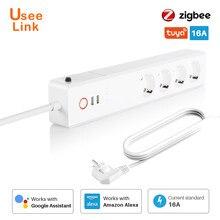 ZigBee – barre d'alimentation intelligente 16A EU/UK, uselink, multiprise, cordon d'extension avec 2 prises USB et 4 prises ca, par Tuya