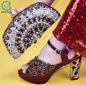 Italian Shoe With Matching Bag For Party With Stones Wedding Shoes And Bag Set High Quality Women Pumps Wine color PU leather