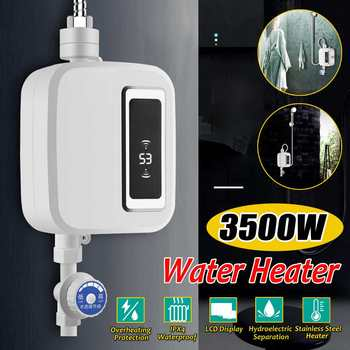 3500W Electric Water Heater Instant Tankles water heater Hot Mini heater with LCD Display EU Plug for Kitchen Bathroom Home