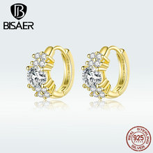 BISAER 925 Sterling Silver Clear Cubic Zircon Exquisite Stud Earrings for Women Luxury Silver Jewelry Zircon Earrings GXE485-B bisaer stud earrings real 925 sterling silver star shape long earrings for women clear cubic zirconia fashion jewelry hve154
